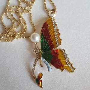 Enamel and crystal butterfly necklace